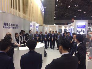 Standbesprechung auf der Jimtof 2018 der Fukuda Corporation